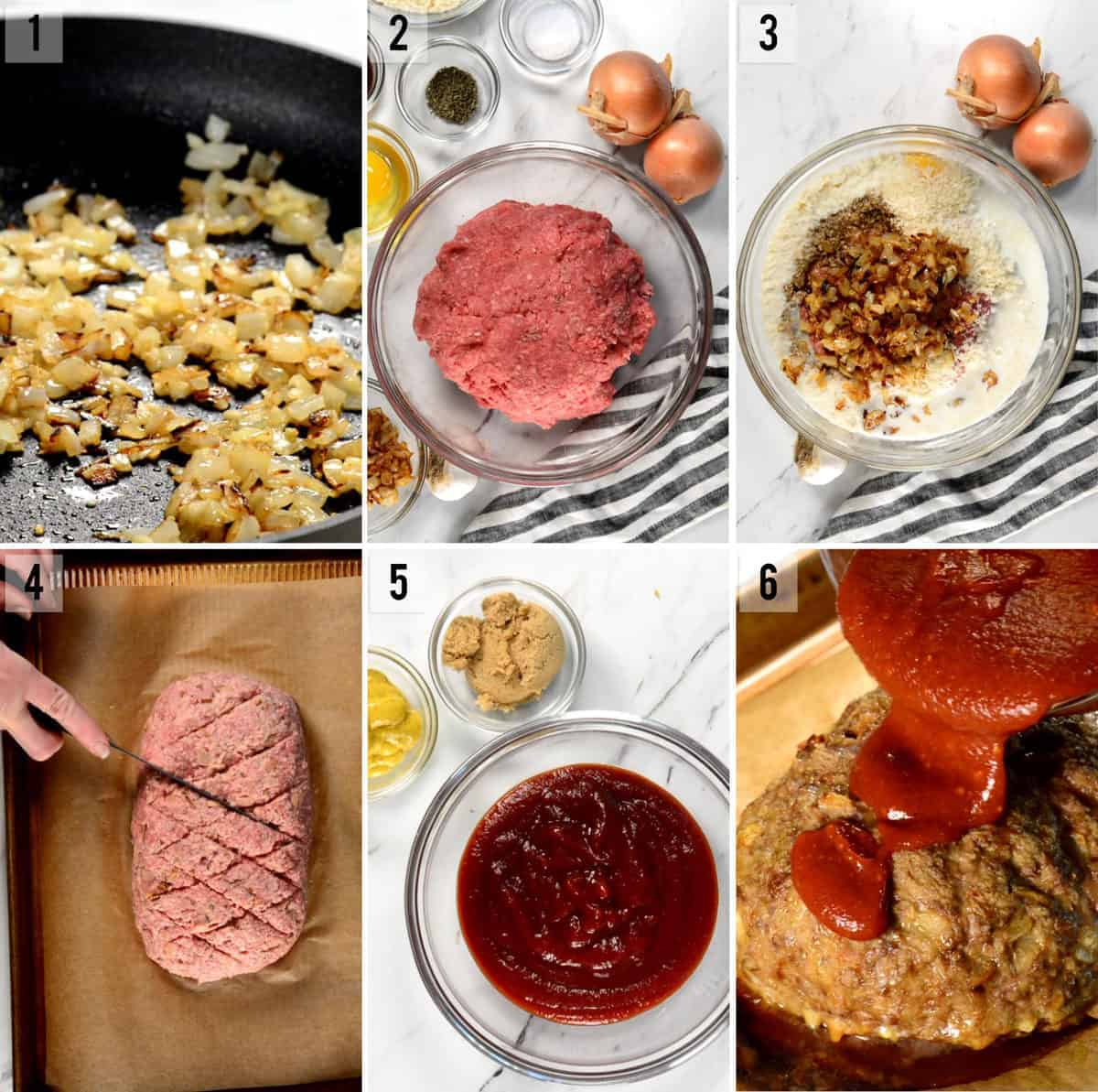 step by step process photos of how to make the best meatloaf recipe
