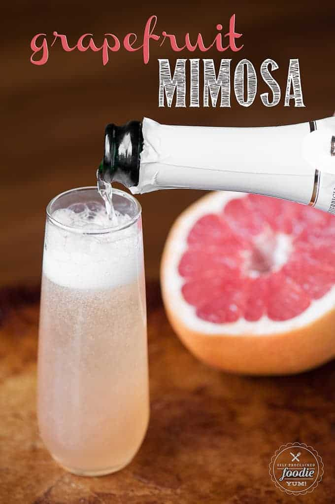 champagne pouring into a glass with grapefruit juice