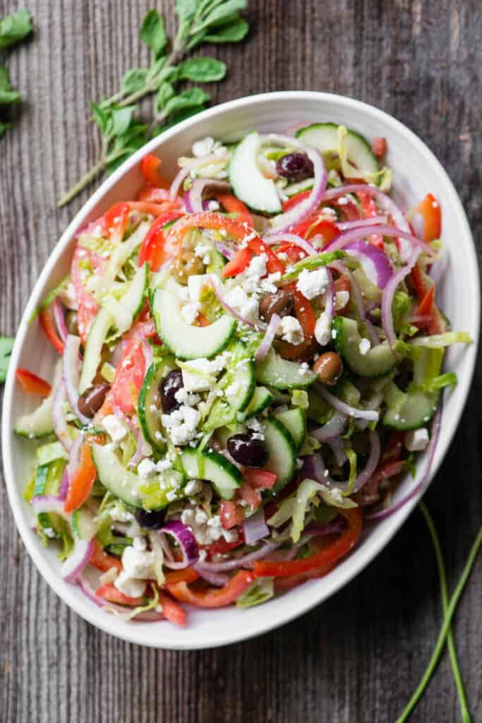 homemade Greek Salad in oval platter