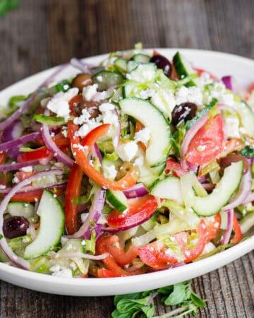 Greek Salad with vegetables and vinaigrette