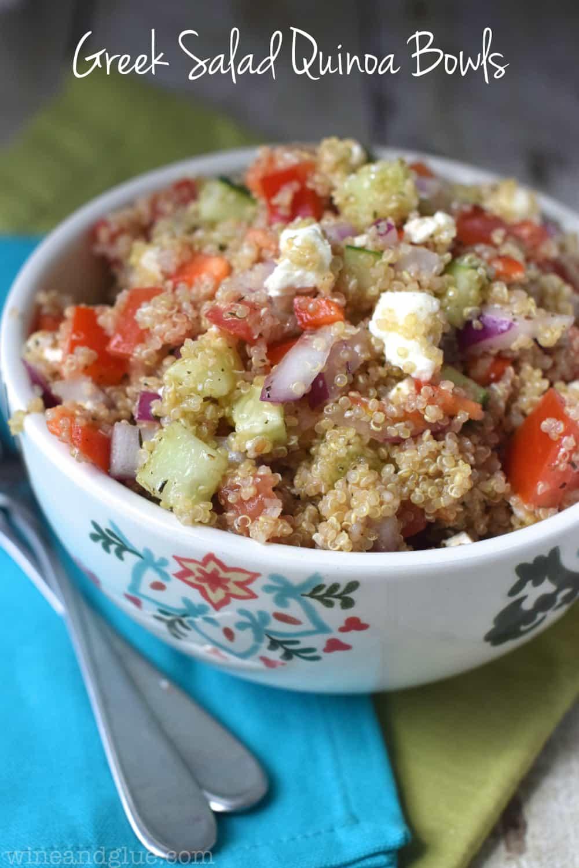 Greek Salad Quinoa Bowls   Wine and Glue