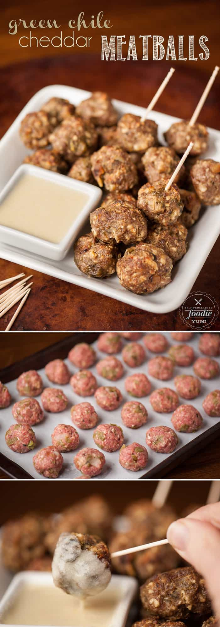 Five ingredient Green Chile Cheddar Meatballs are easy to make, taste fantastic with white cheddar cheese sauce, & can be eaten as a main dish or appetizer.