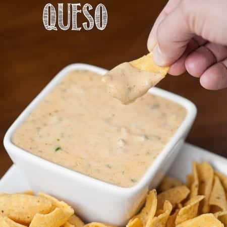 This spicy and creamy Green Chile Cheddar Queso made with real sharp cheddar cooks up in just minutes and is the perfect cheese sauce for nachos or tacos.