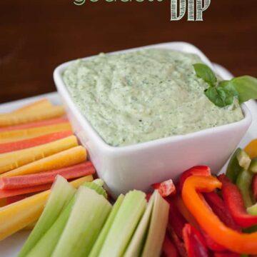 green goddess dip with fresh vegetables