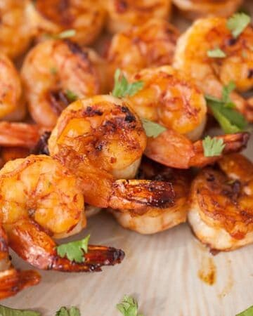 I can't think of a better send off to summer than enjoying dinner outside while feasting on these tasty sweet and spicy Grilled Chipotle Shrimp Skewers.