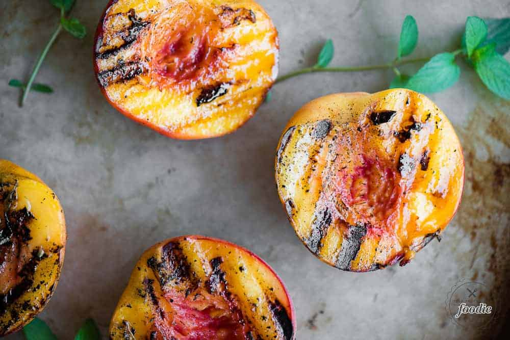 grilled peach halves with mint