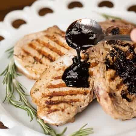 Grilled Pork Chops with Balsamic Butter Sauce