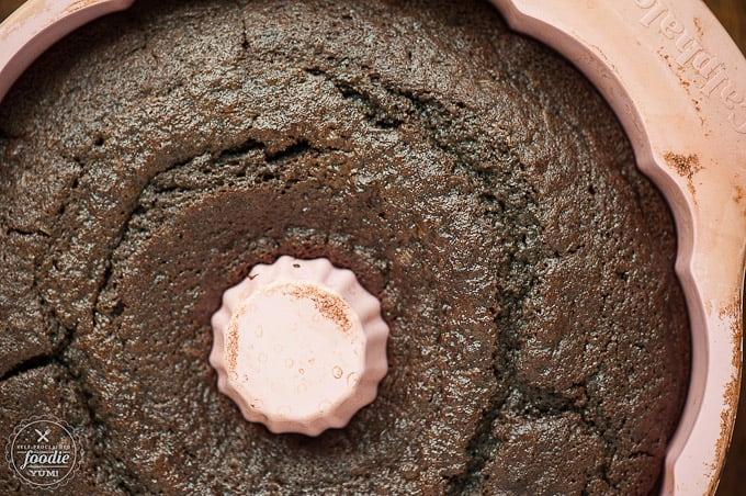 Top of chocolate bundt cake in pan