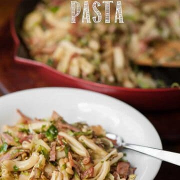 a bowl of ham and brussel sprout pasta