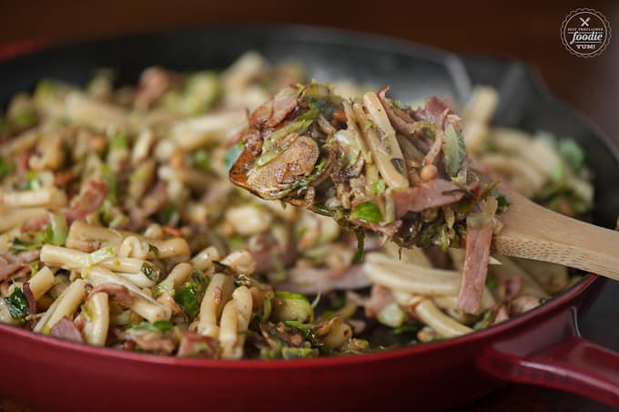 This super tasty and satisfying Ham and Brussel Sprout Pasta with pine nuts is full of flavor, easy to make, and will quickly become a favorite fall meal.