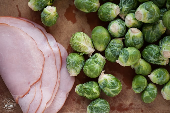 brussel sprouts and ham