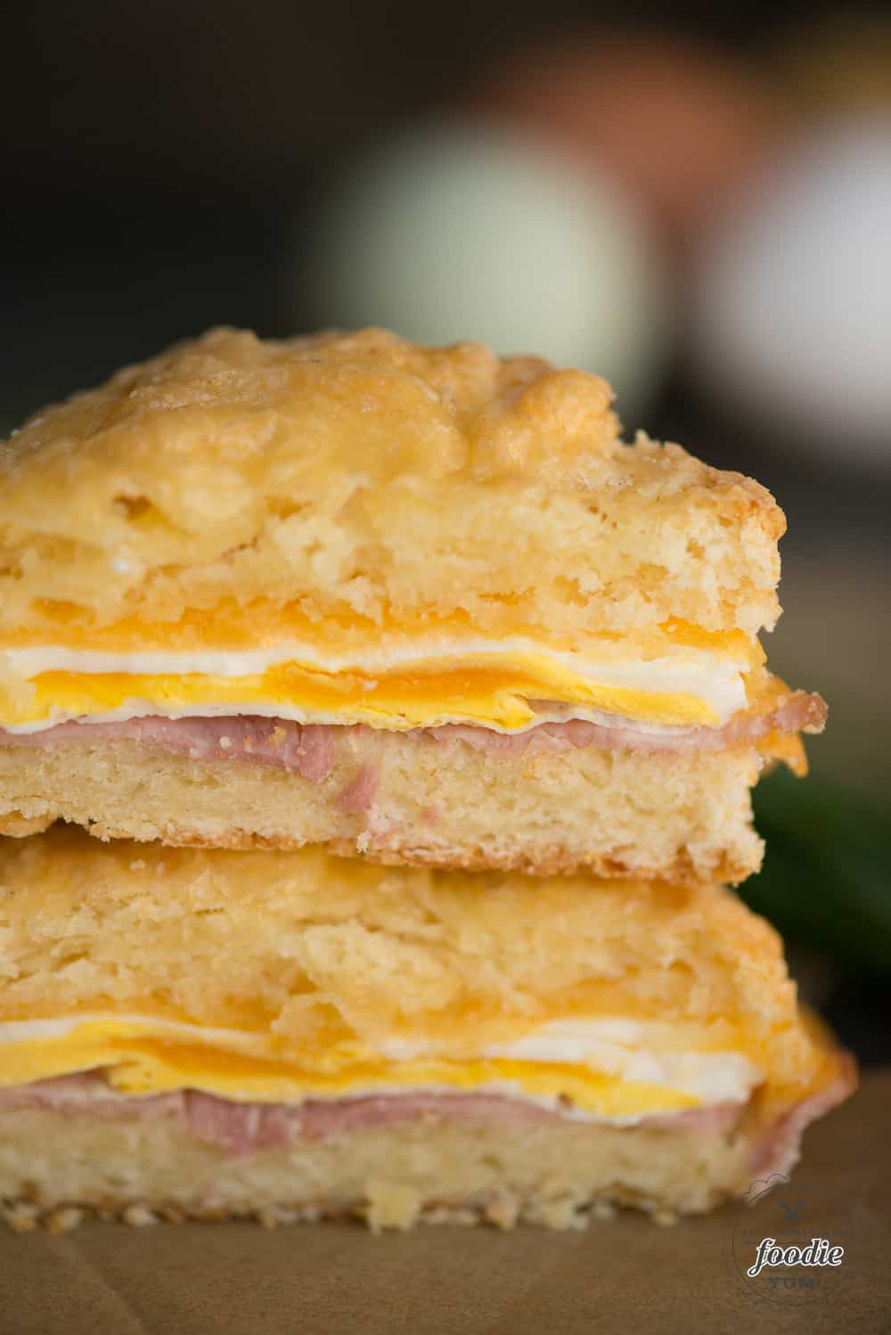 Ham, Egg and Cheese Breakfast Sandwich with a cheesy biscuit