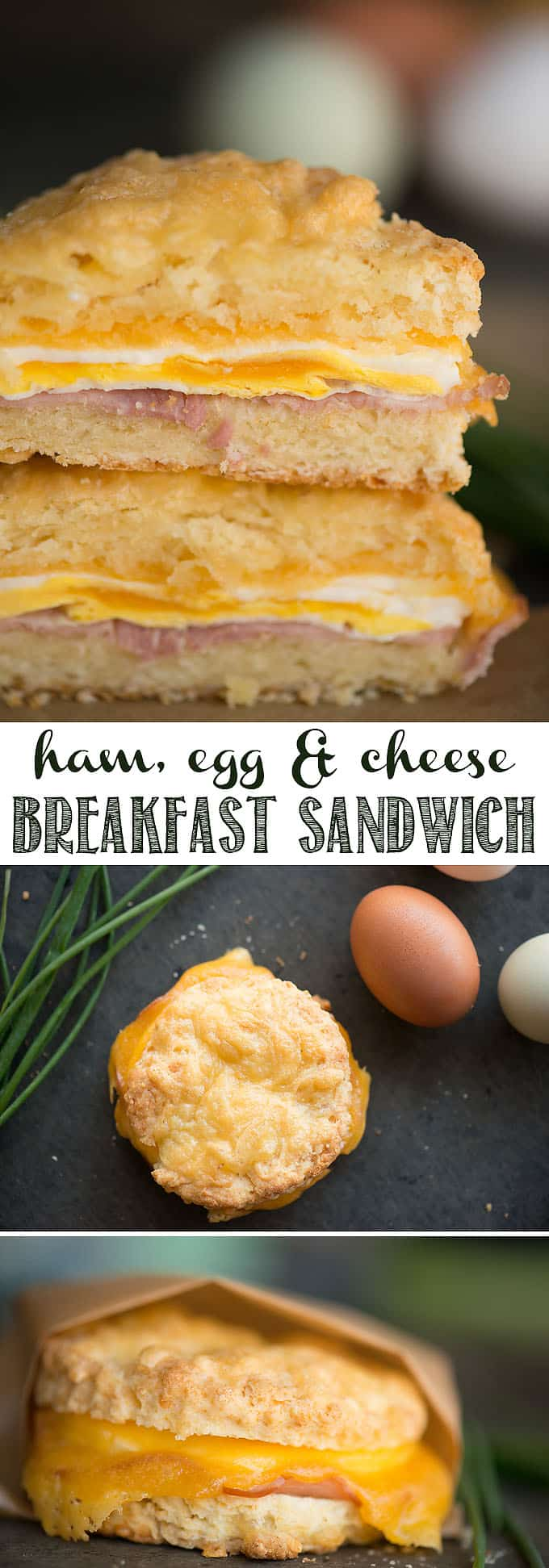 Ham, Egg & Cheese Breakfast Sandwiches combine a perfectly cooked egg, melted cheddar cheese, flavorful ham inside a freshly baked homemade cheddar biscuit. Make them as a grab-and-go breakfast as a delcious way to start your day! #breakfast #breakfastsandwich #biscuit #cheddarbiscuit #egg #cheddar #ham #breakfastslider