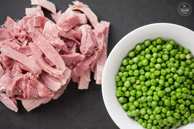 Ham steak and peas
