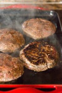 browned hamburger patty