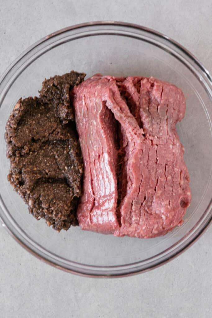 ground beef with ground mushrooms