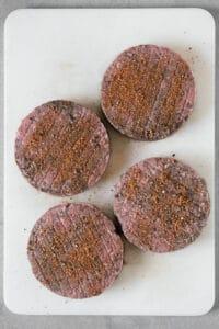 uncooked hamburger patties