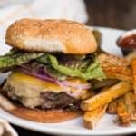 homemade cheeseburger and fries
