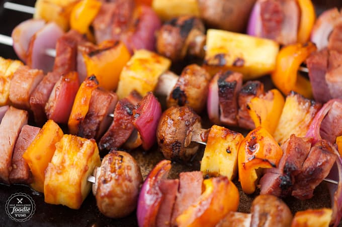 skewers with ham, mushroom, pineapple, onion