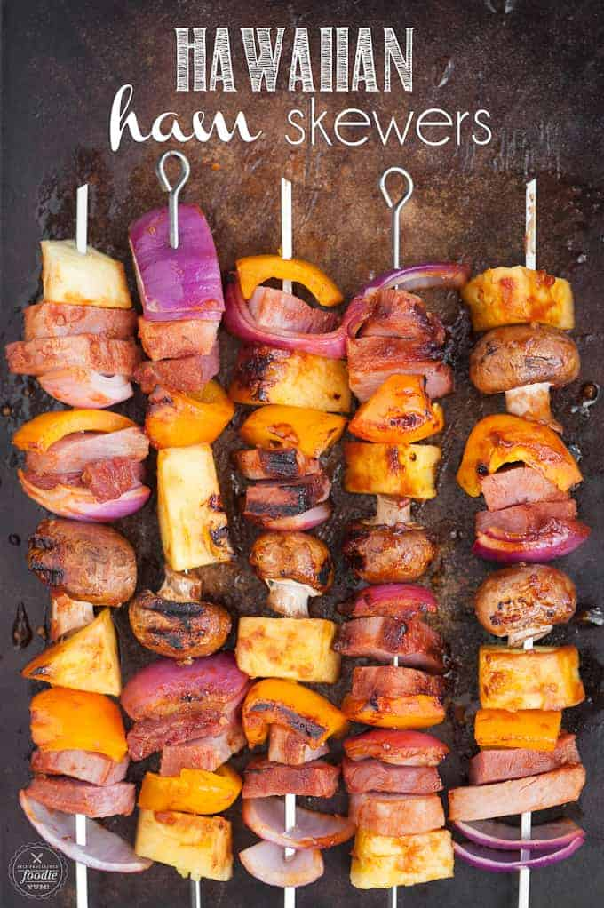 ham shish kabobs with pineapple and peppers