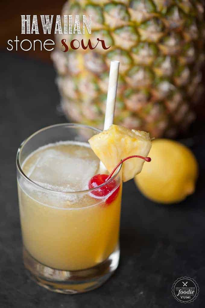 This tart Hawaiian Stone Sour made with whiskey and pineapple juice will make your mouth pucker while you daydream about relaxing on a tropical beach.