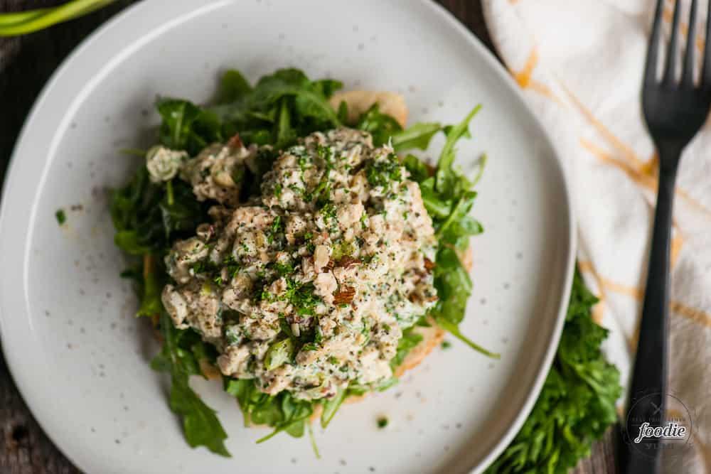hazelnut chicken salad on toast
