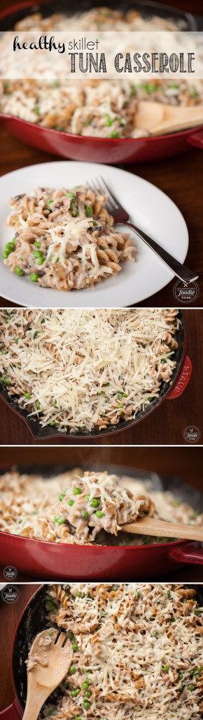 This Healthy Skillet Tuna Casserole is not only quick and easy for a busy weeknight dinner, but it is full of fresh and wholesome comfort food ingredients.