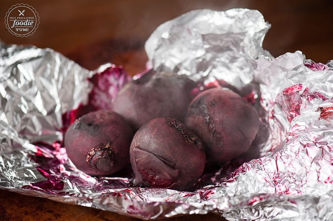 roasted beets on foil