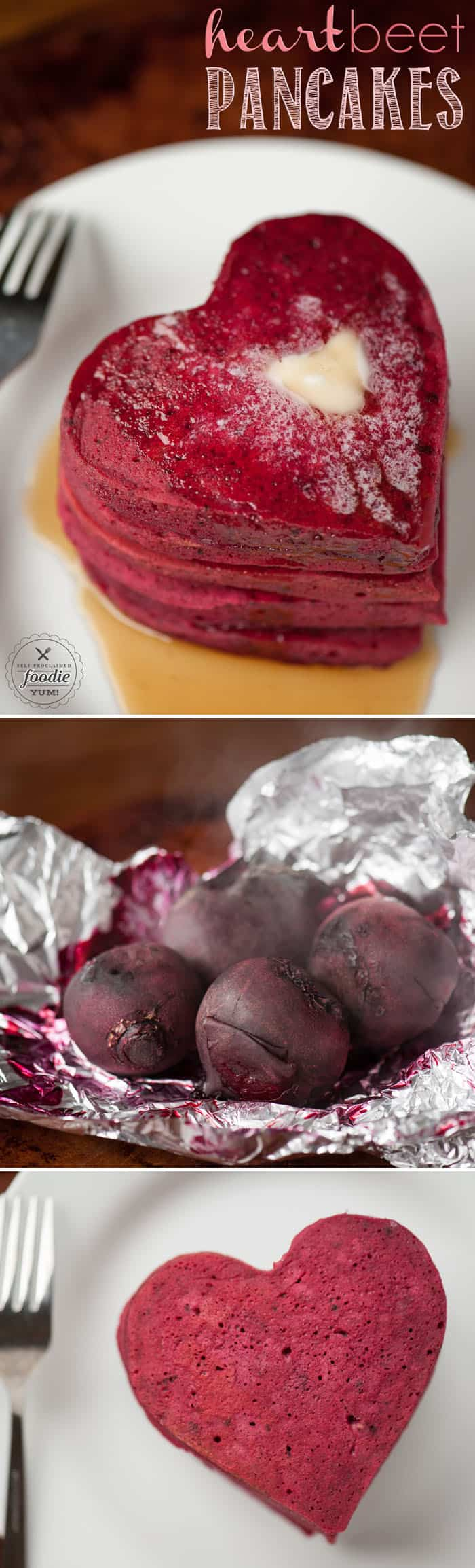 Heart Beet Pancakes are the made with sweet roasted beets and make the most delicious red velvet pancakes that are perfect for Valentine's Day.
