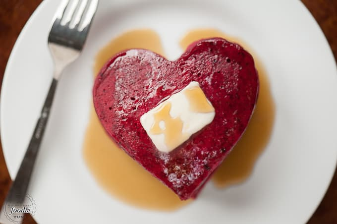red velvet heart shaped beet pancakes