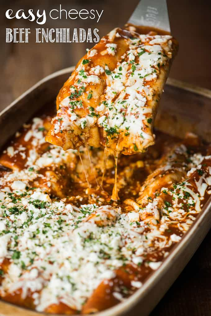 If you're looking for a quick and easy dinner that your entire family will love, these Easy Cheesy Beef Enchiladas are sure to please!