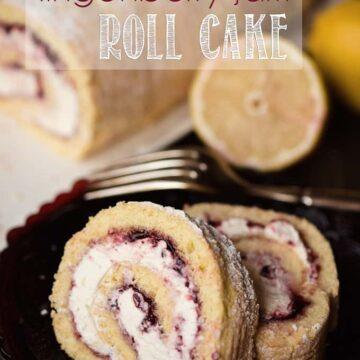 lemon lingonberry jam cake roll