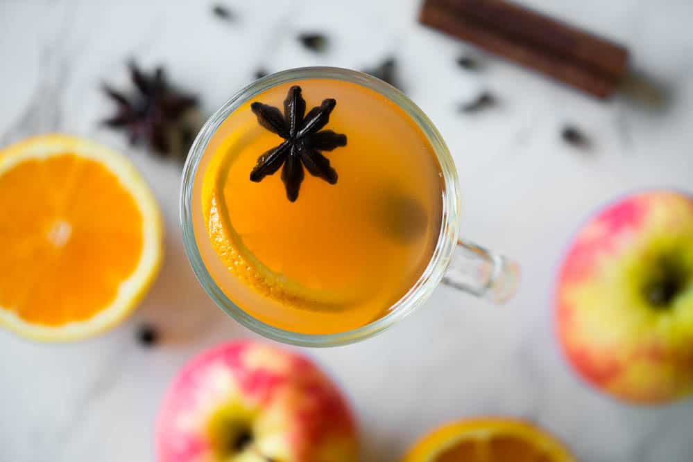 glass of Homemade apple cider with star anise