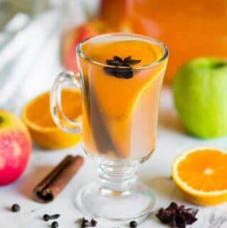 glass of Homemade apple cider with orange slice