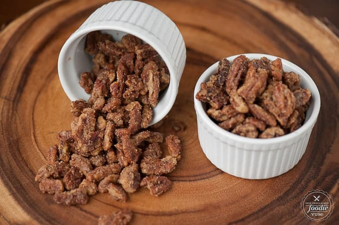 Homemade Candied Pecans are a real treat, easy to make, and are perfect as a holiday appetizer, snack on the go, or on top of salads, oatmeal, or yogurt.