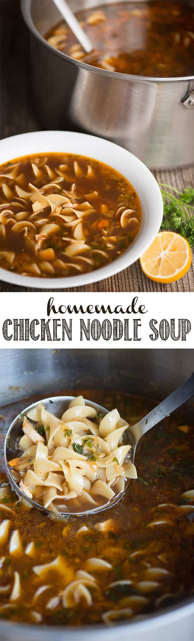 Homemade Chicken Noodle Soup is a hearty, healthy, and comforting meal that everyone should know how to make from scratch. This recipe starts with homemade chicken broth, veggies to add flavor and vitamins, and egg noodles to make in an old fashioned favorite! This chicken soup is the perfect remedy if you're sick! #chicken #chickensoup #chickennoodlesoup #homemade #homemadechickennoodlesoup