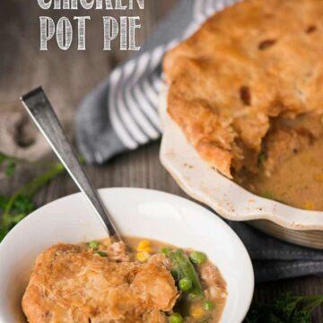 bowl of homemade chicken pot pie