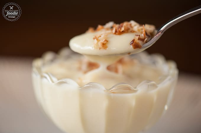 spoonful of dairy free coconut pudding