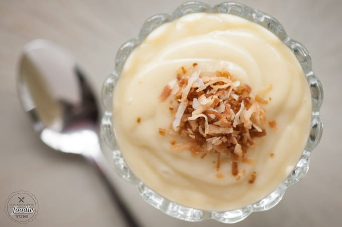 Single serving of homemade coconut pudding
