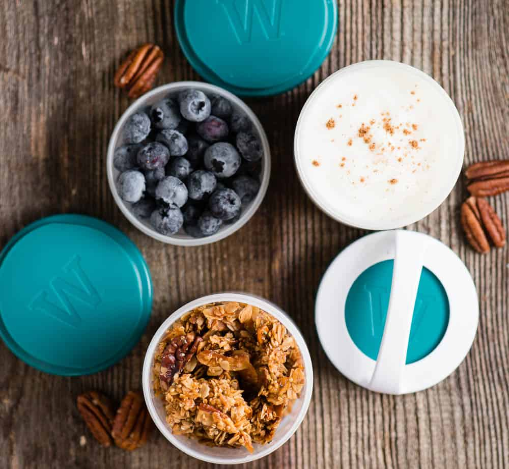 yogurt parfait with homemade granola and snack containers