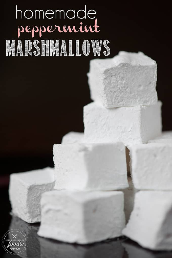 a stack of homemade peppermint marshmallows