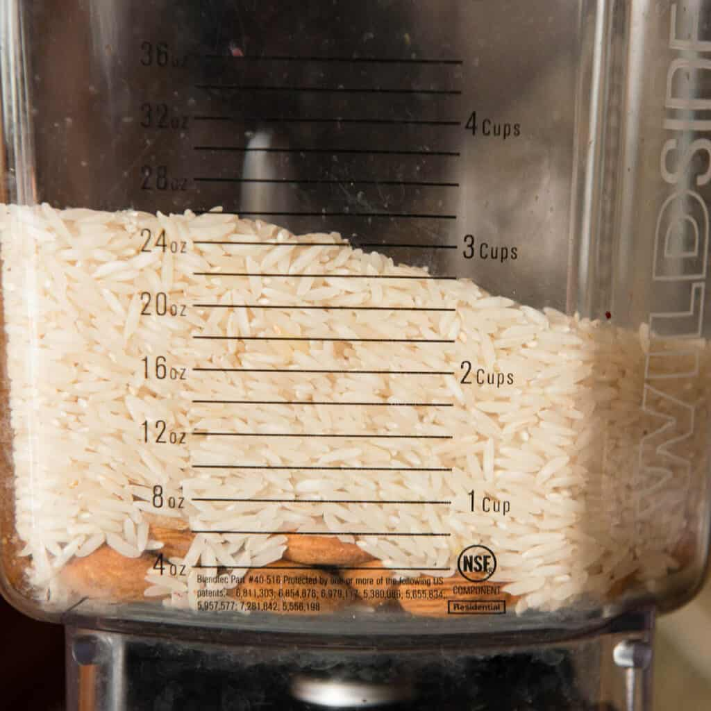 rice and almonds in blender