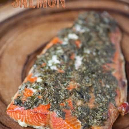 cooked salmon filet with herb topping