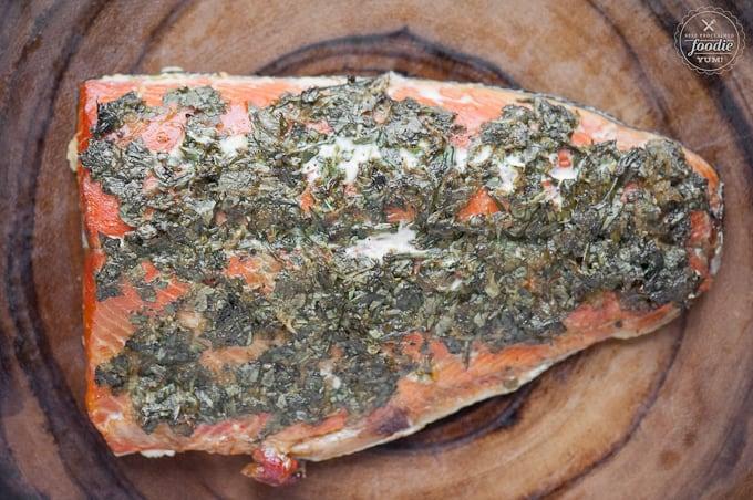 looking down at herb hot smoked salmon
