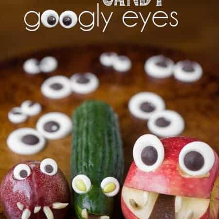 candy googly eyes on fruits and veggies