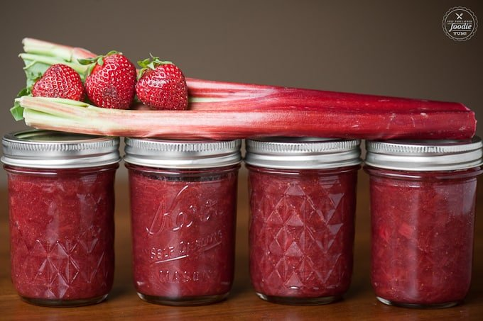 Strawberry jam and rhubarb jam come together in one great recipe