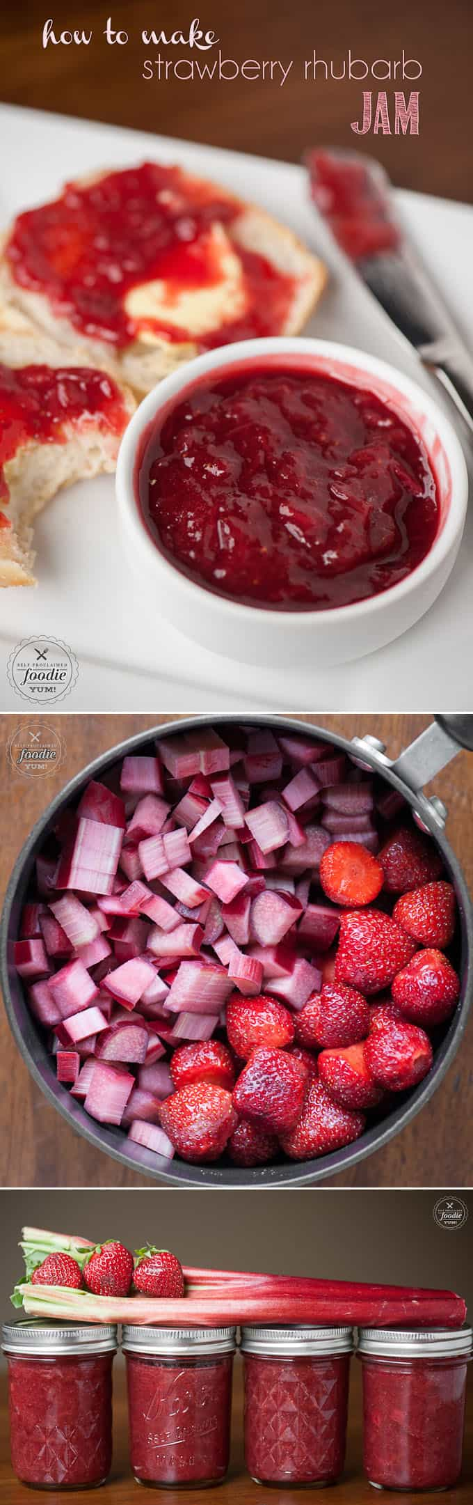 Canning in jars is easy when you know How to Make Strawberry Rhubarb Jam from fresh rhubarb, strawberries, sugar and lemon without pectin. #strawberry #rhubarb #jam #jelly #strawberryrhubarb #strawberryrhubarbjam