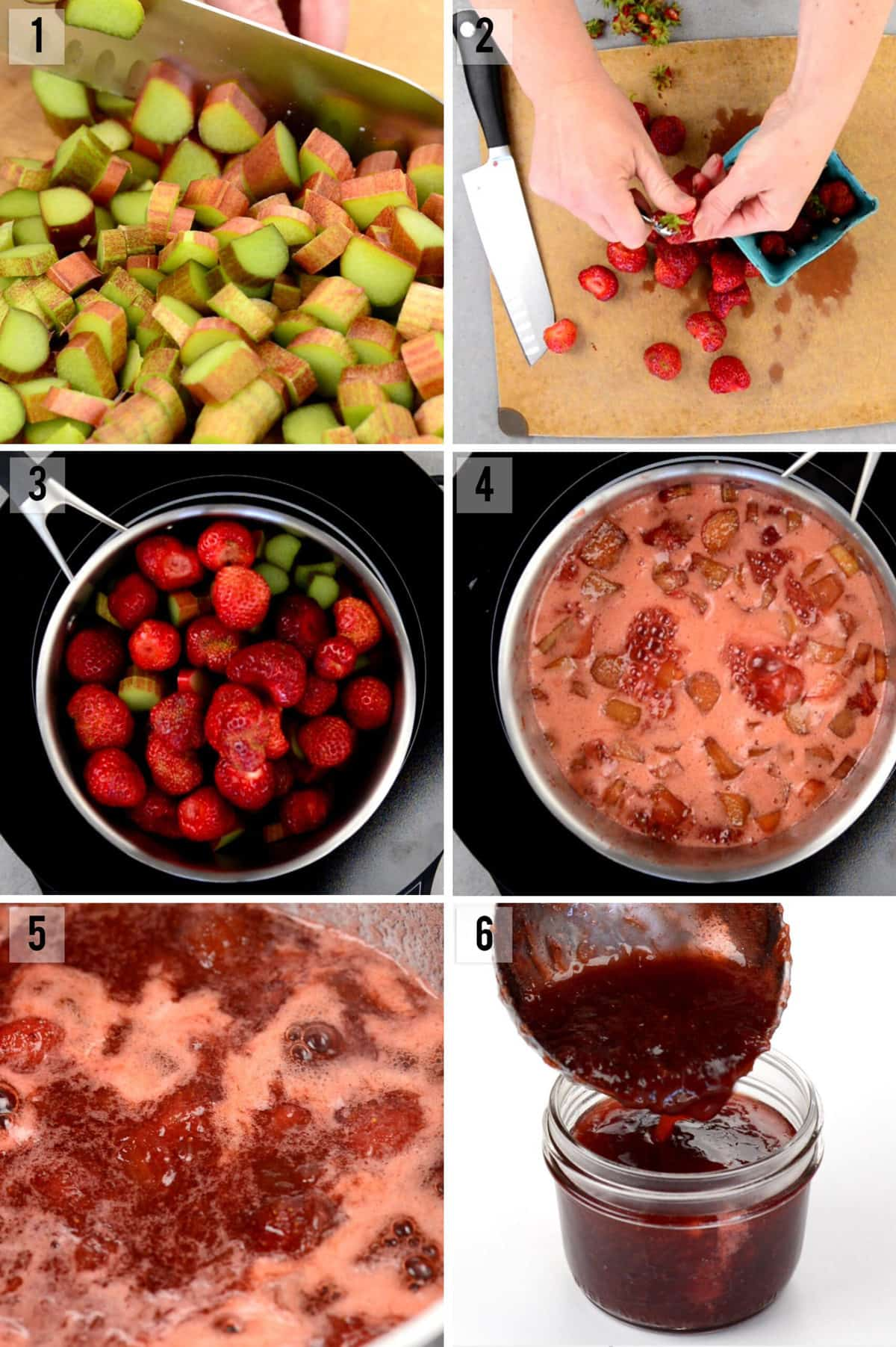 step by step photos of how to make strawberry rhubarb jam