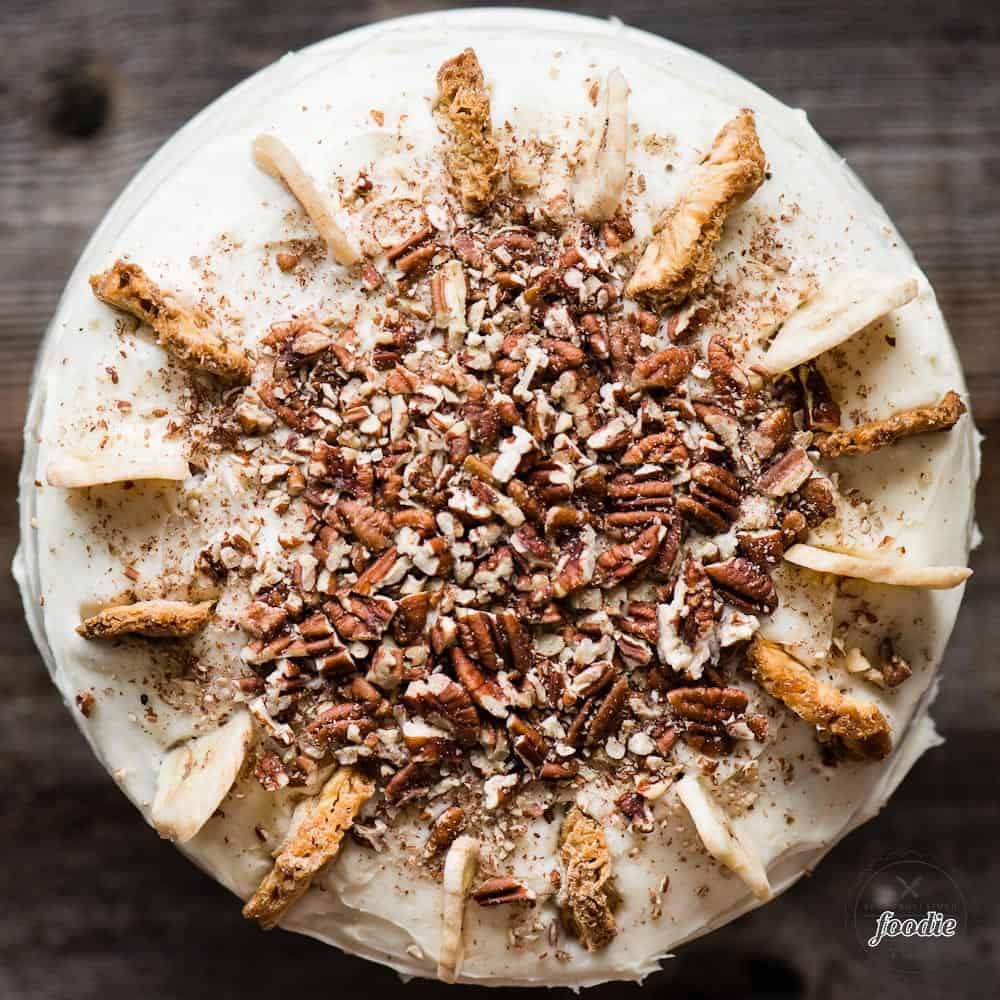 Top of Hummingbird Cake with pecans