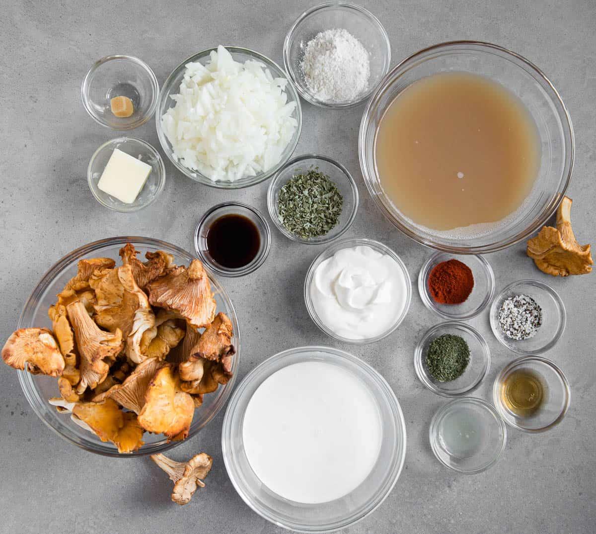ingredients used to make this Hungarian Mushroom Soup recipe